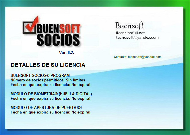 Buensoft Socios Licencias Full Ilimitados Biometria Puertas